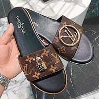 LV Louis Vuitton Fashion Women Casual Flat Slippers Sandals Shoes