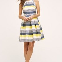 Eva Franco Canary Lined Dress in Blue Motif Size: