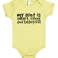 my aunt is smart, funny, and beautiful baby one piece t-shirt-00