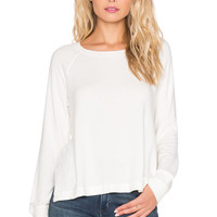 SUNDRY Open Side Long Sleeve Sweater in Ivory