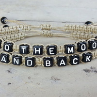 To the moon and back Bracelets for Couples ,Set of 2 , Personalized Jewelry , Anniversary Gifts, Bridesmaid Bracelet