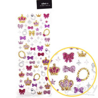 Princess Themed Crowns Gems Stars and Ribbons Shaped Glittery Decorative Stickers for Scrapbook and Crafts | Cute Card Decorating Supplies