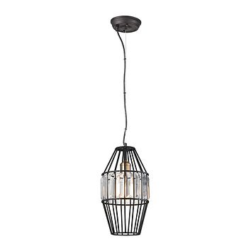 Yardley 1-Light Mini Pendant in Oil Rubbed Bronze with Clear Crystal on a Wire Cage