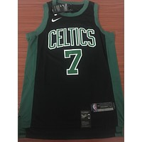 Boston Celtics #7 Jaylen Brown Black/Green Swingman Jersey