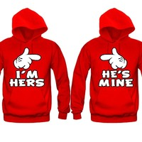 I'm Hers - He's Mine Unisex Couple Matching Hoodies