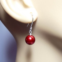 Deep Red Pearl Drop Earrings, Valentines Day Jewelry, Mom Sister Grandmother Gifts, Cocktail, Wedding Jewelry