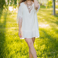 Oh Umm Gee Cream Lace Tunic Top