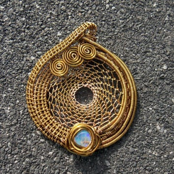 Copper Dream Catcher Wire Wrapped Pendant with Ethiopian Welo Opal // Heady Festival Jewelry