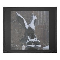 Snowy Winter Eagle Statue NYC Duvet Cover