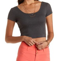 Scoop Neck Ribbed Crop Top by Charlotte Russe