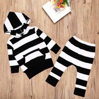 Fashion Cute Stripped Newborn Baby Boy Girl Hooded Sweatshirt Top+pant Set Clothes Outfits Kids Warm Clothes