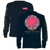 Simply Southern Blue Elephant Long Sleeve Tee
