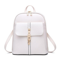 Fashion  Backpacks Solid Quilting Bears Sew School Bags r White Leather Woman