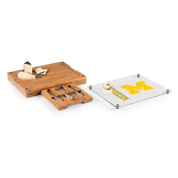 Michigan Wolverines - Concerto Glass Top Cheese Cutting Board & Tools Set, (Bamboo)