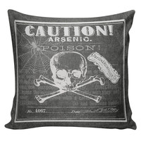 Cushion Pillow Halloween Skeleton Arsenic Poison Label Chalkboard Cotton and Burlap HA-69 RavenQuoth All Hallow's Eve Home Decor