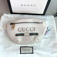 Gucci Fashion Men's and Women's Letter Paper Printing Belt Zipper Inclined Bag Waist Bag White