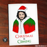 Christmas is Coming - Funny Christmas Card - TV Show Card - Game of Thrones - Jon Snow - Santa Claus - Happy Holidays Card 4.5 X 6.25 Inches