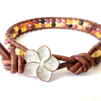 Hipster leather wrap bracelet, gift for best friend, Japanese miyuki seed beads in amber & honey mix