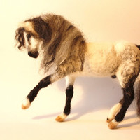 NEEDLE FELTING Horse andalusian horse felted figurine one of a kind figurine