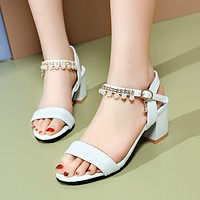 Pearl Ankle Straps Chunky Heel Pumps Women Sandals 4304