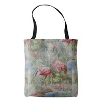 Pink Flamingos Palm Mosaic Tote Bag
