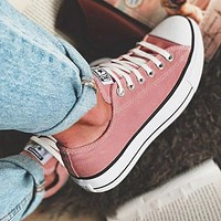 """Converse"" Fashion Canvas Flats Sneakers Sport Shoes Low tops Bean paste color"