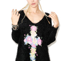 Wildfox Couture Floral Cross New 3/4 V-Neck Clean Black
