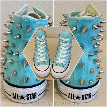 NEW Custom spiked Converse - aqua blue high tops with silver spikes, size 7 or 8 women