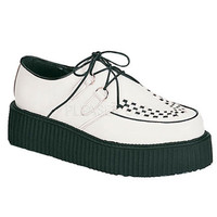 Demonia Black and White Leather Upper Two Inch Creeper