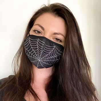 Black Spiderweb Face Mask