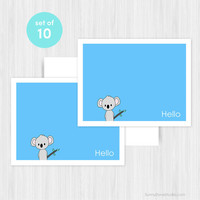 Koala Hello Greeting Card Set Blank Handmade Notecards Note Cards Boxed Set Stationery Any All Occasion Gifts Gift Ideas For Her Pack of 10