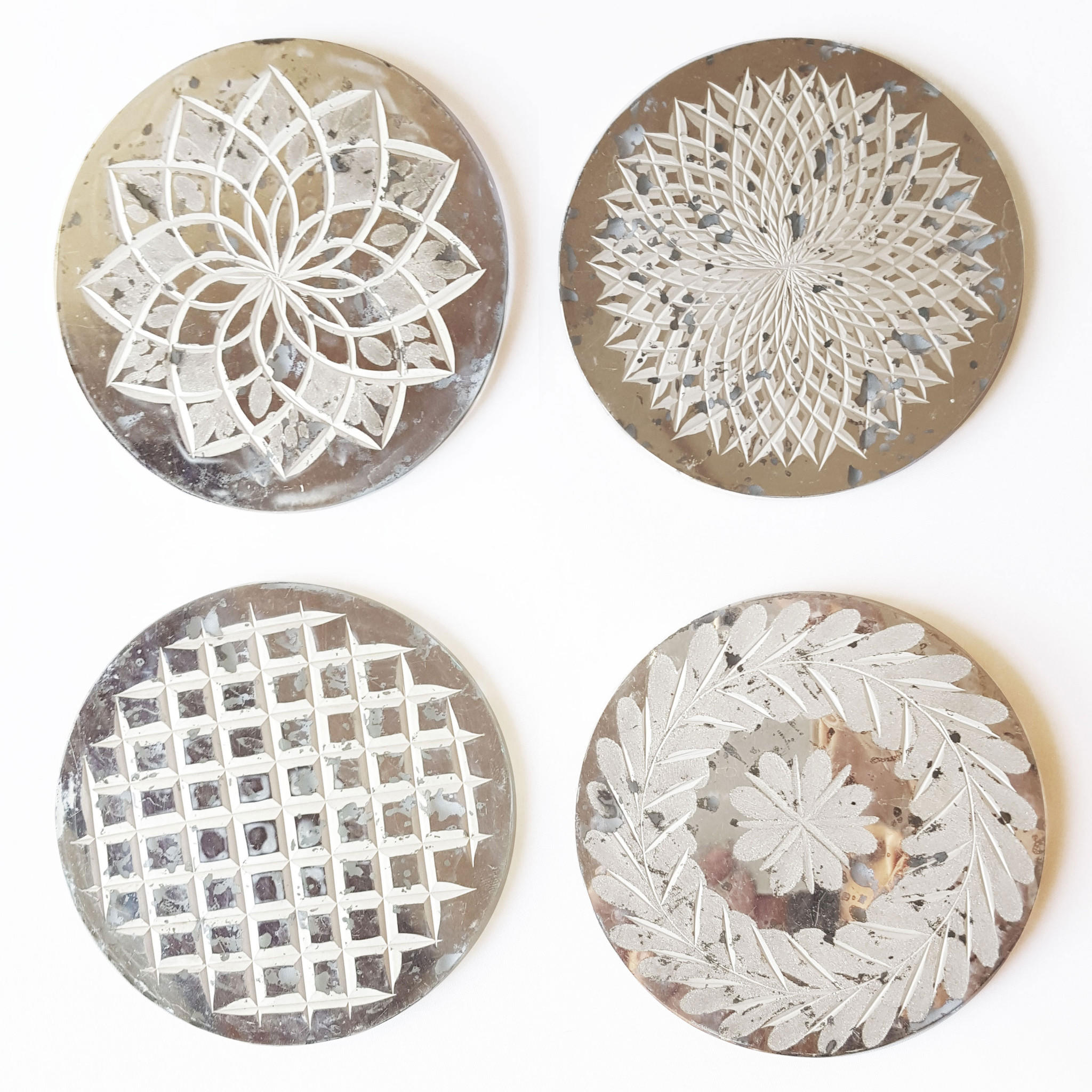 Image of Etched Recycled Glass Coaster Set