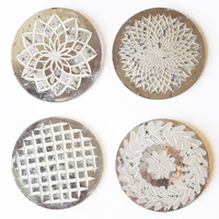Etched Recycled Glass Coaster Set