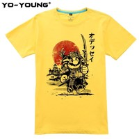 Super Mario party nes switch  Samurai Odyssey Men T Shirts Funny Design Digital Printing 100% 180gsm Combed Cotton Casual T-shirts Customized AT_80_8