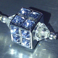 Light Blue Crystal Cell Phone Dust Plug