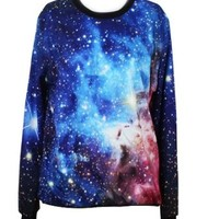Pink Queen Roll Neck Neon Galaxy Cosmic Colorful Patterns Print Sweaters Sweatshirt (S)