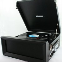 Steepletone 1960s-style Record Player (Black)