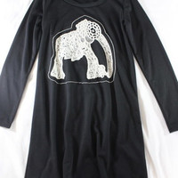 """~~~ UBER-CUTE! ~~~ THE CUTEST NOBLE U BLACK KNIT """"ELEPHANT EMBROIDERED""""DRESS ~ L"""