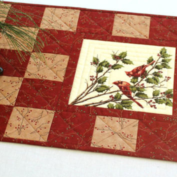 Cardinal Table Runner, Quilted Red Table Runner, Holly Christmas Table Quilt, Rustic Cabin Decor, Winter Table Topper, Handmade
