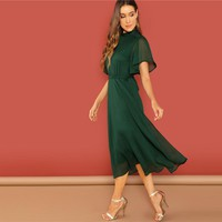 Weekend Casual Green Flutter Sleeve Short Sleeve Split Tie Back Solid Stand Collar Dress Women Elegant Dress