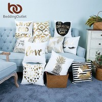 BeddingOutlet Bronzing Cushion Cover Gold Printed Pillow Cover Decorative Pillow Case