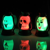 New Halloween Costumes Product 1 PC LED Pumpkin Skull Hanging Light Lamp Kerosene Halloween Party Decor Halloween Supplies Hot