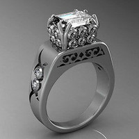 AMAZING 1.60CT WHITE PRINCESS 925 STERLING SILVER ENGAGEMENT AND WEDDING RING