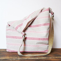 Linen rustic Tote bag leather strap Marketbag Shopping bag beach bag striped linen canvas