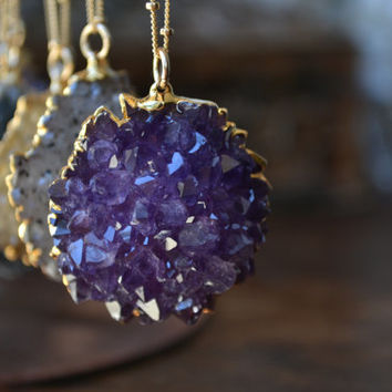 DRUZY FLOWERS /// Electroformed Amethyst and Citrine Roses /// Gold