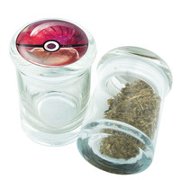 Stash Jar - Glass Pop Top -  Pokeball #2 - Stay Fresh Herbs 1/6 oz.