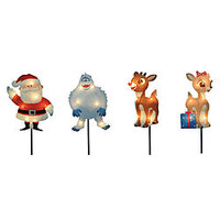 Rudolph the Red-Nosed Reindeer Christmas Outdoor Decorations 2D 4 Pk Pathway Markers, 25 Lights, 8 in.