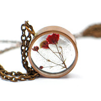 Baby's Breath Necklace, real flowers, resin jewelry, Pressed Flower Jewelry, Resin Necklace, Copper Pipe Jewelry