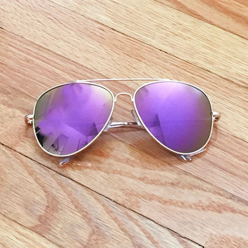 Purple Mirror Lens Aviator Sunglasses
