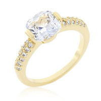 Clear Cushion Cut Cubic Zirconia Engagement Ring, size : 05